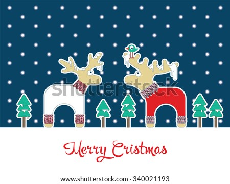 Poster with elk and deer in sweaters. About winter and Christmas time. - stock vector