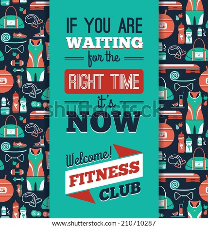 Poster with fitness Icons. Vector illustration.  - stock vector