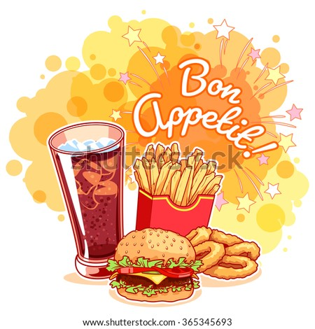 "Poster with glass of cola, french fries, hamburger, onion rings and inscription ""Bon Appetit!"". Delicious fast-food on the bright yellow background. Vector cartoon illustration. - stock vector"