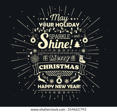 Poster with greetings merry Christmas and happy new year, creative lettering. Greeting card with congratulations. Banner with text greetings. Vector illustration - stock vector