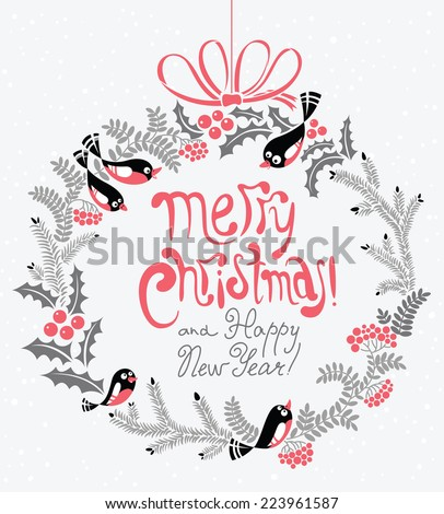 Poster with New Year and Christmas wreath - stock vector