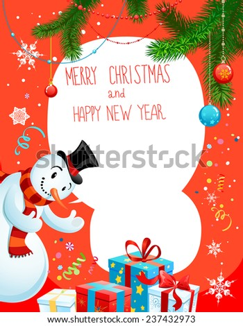 Poster with snowman on red background. Holiday illustration with place for text. - stock vector