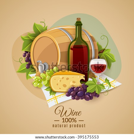 Poster with the image of red wine and cheese snack submitted on colored background vector illustration - stock vector
