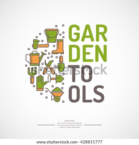 Poster with tools for the garden. Signs and symbols of gardening. Garden tools in the background. - stock vector