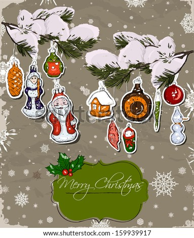 Poster with vintage Christmas decorations. Vector illustration EPS10 - stock vector