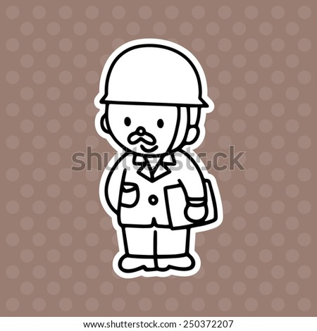 Postman cartoon illustration isolated on brown background without color - stock vector