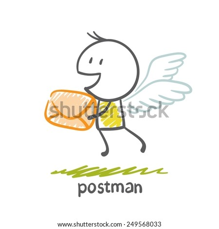 postman flies on the wings with a letter illustration - stock vector