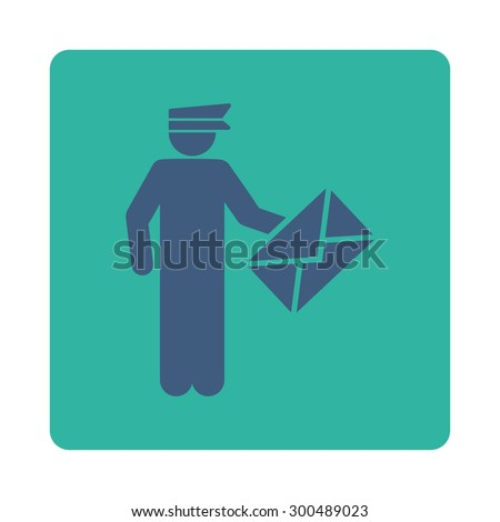 Postman icon. This flat rounded square button uses cobalt and cyan colors and isolated on a white background. - stock vector