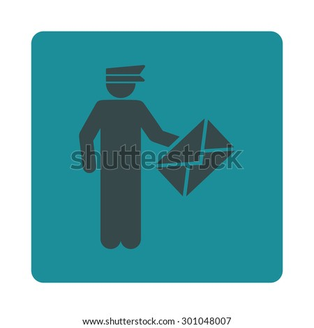Postman icon. This flat rounded square button uses soft blue colors and isolated on a white background. - stock vector