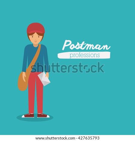postman profession design  - stock vector