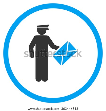 Postman vector icon. Style is bicolor flat symbol, blue and gray colors, rounded angles, white background. - stock vector