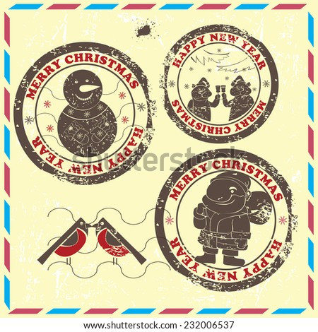 Postmarks  for New Year and Christmas. Set contains postmarks with   images of  snowman,Santa,cats and bullfinches on vintage background. - stock vector