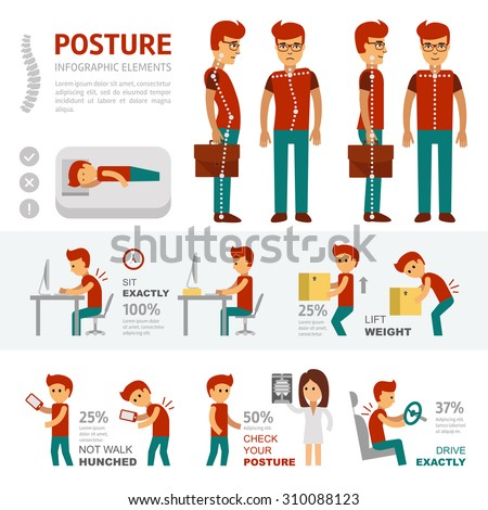 Posture infographic elements - stock vector