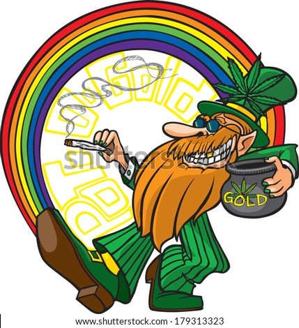 Pot-o-Gold A cool cartoon Leprechaun with his pot of gold man. Layered vector file available. - stock vector