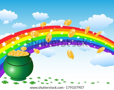 pot of gold coins and rainbow on the sky - stock vector