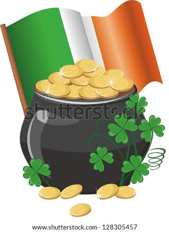 Pot of gold with banner and irish flag - stock vector