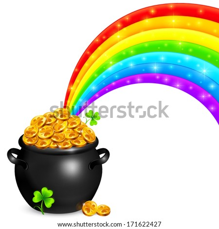 Pot of gold with magic rainbow - stock vector
