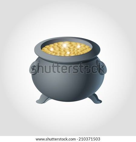 Pot with gold coin for Patrick's day icon Isolated on White Background - stock vector