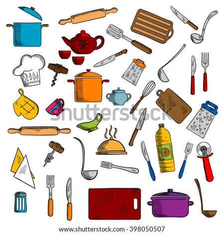 Pots and cups, tea set, knives and forks, spatula and cutting board, whisk and chef hat, graters and rolling pin, tray and corkscrew, napkin and pizza cutter, oven glove and salt shaker - stock vector
