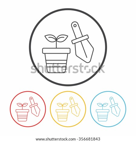 stock-vector-potted-plants-line-icon-356681843 Oleander As Houseplant on
