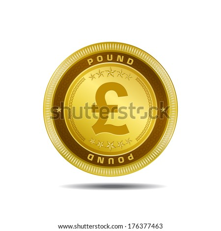 Pound Currency Coin Pound Currency Sign Gold Coin
