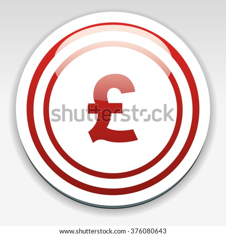 Pound sign icon. GBP currency symbol. Money label. Circle flat button with shadow. Modern UI website navigation. Vector - stock vector