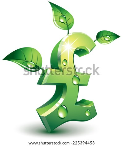 Pound symbol with green leaves. Eps8. CMYK. Organized by layers. Global colors. Gradients used. - stock vector