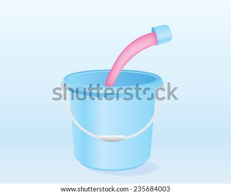 Pour liquid mixed with water in blue pail - stock vector