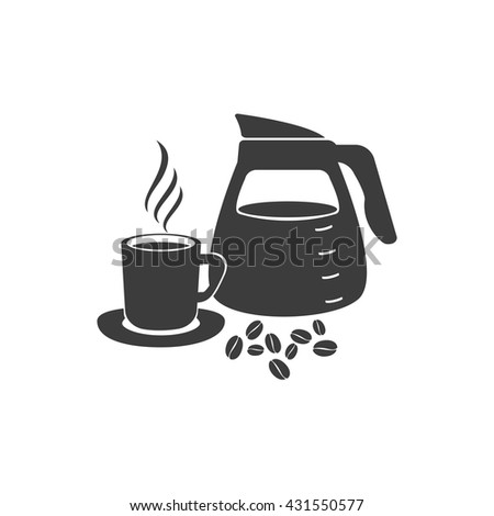 Pouring coffee icon. Pouring coffee Vector isolated on white background. Flat vector illustration in black. EPS 10 - stock vector