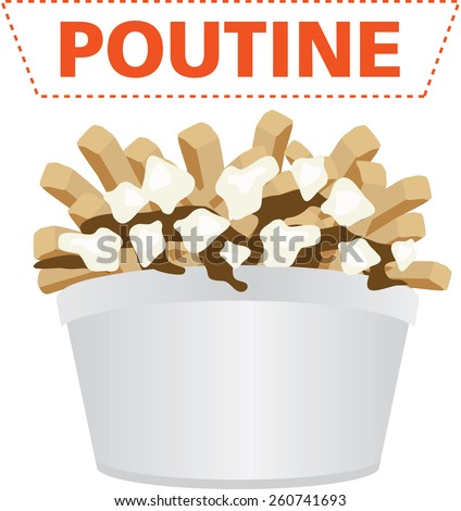 Poutine Quebec meal with french fries, gravy and cheese curds illustration vector - stock vector
