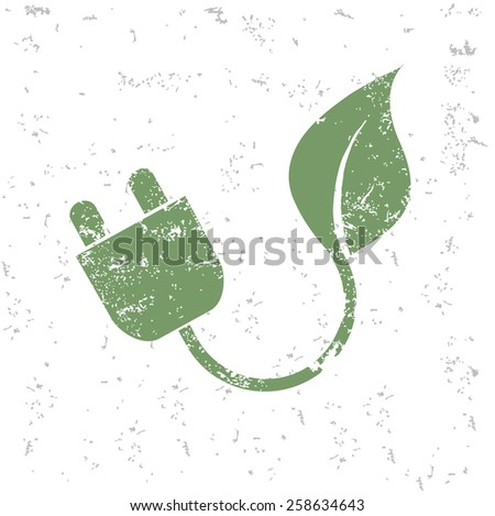 Power and energy of ecology design on old paper,grunge vector - stock vector