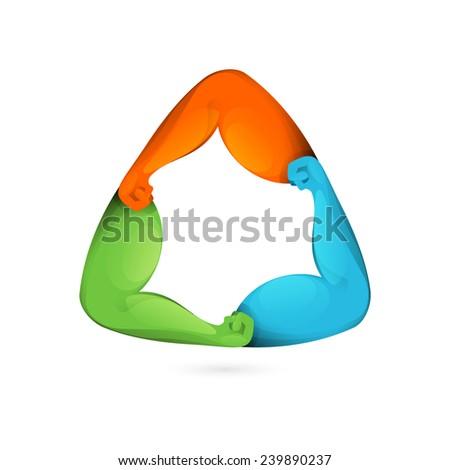 Power arms triangle 3d volume vector logo  - stock vector