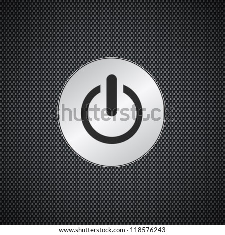 Power button on black metal background - stock vector