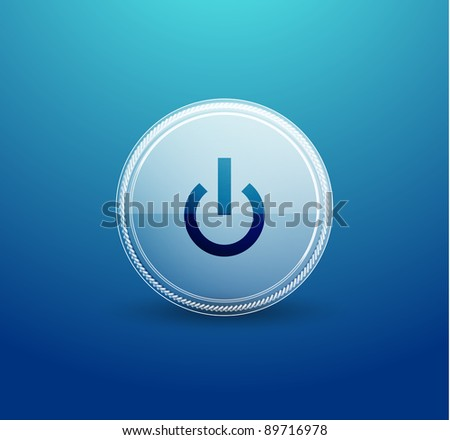 Power button web element made of transparent glass circle - stock vector