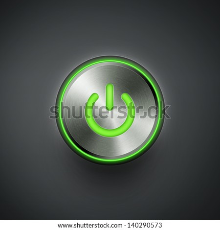 power button with green light eps10 vector illustration - stock vector