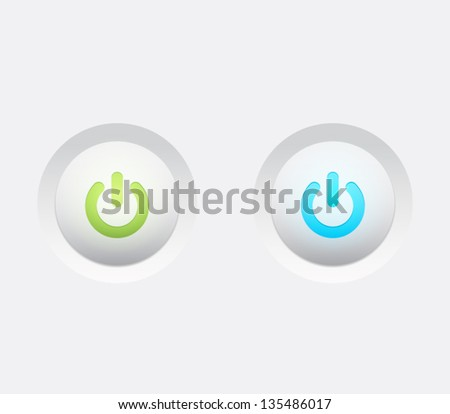 Power buttons / icons with shiny lights for websites (UI) or applications (app) for smartphones or tablets. Plastic style - stock vector