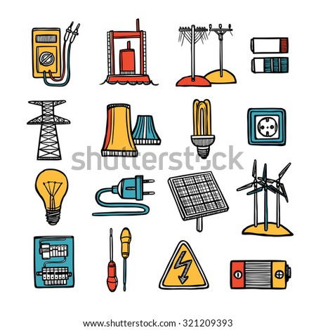 Power energy and electricity devices tools and symbol flat color doodle icon set isolated vector illustration  - stock vector