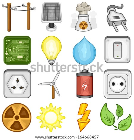 Power, Energy and Electricity  icon set // illustration - stock vector