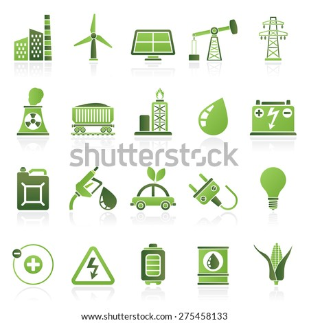 Power, energy and electricity Source icons - vector icon set - stock vector