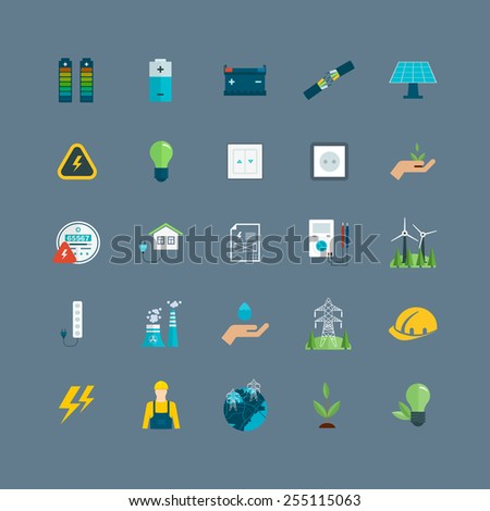 Power energy, eco friendly and green energy icons set - stock vector