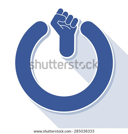 Power fist button, vector - stock vector