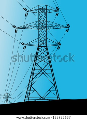 Power high voltage tower vector background - stock vector