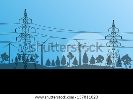 Power high voltage tower vector background wind energy concept - stock vector