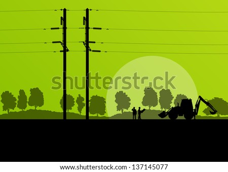 Power high voltage tower with engineer and excavator vector background - stock vector