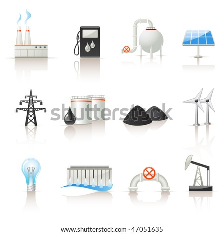 Power industry icon set - stock vector