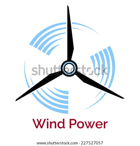 power making company logo with wind turbine isolated on white - stock vector