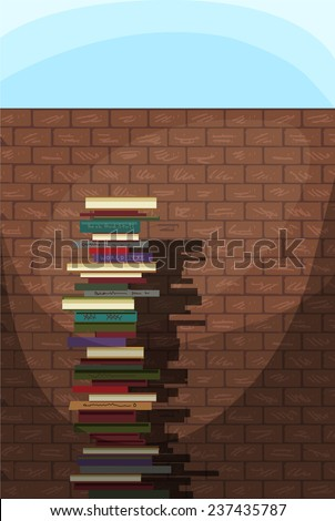 power of education, stack of books in front of a brick wall, vector illustration - stock vector