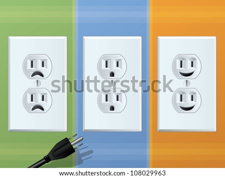 Power Outlet/Happy and Sad Receptacles - stock vector