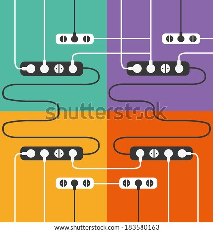 power outlet icons in minimal style - stock vector