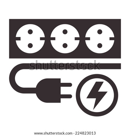 Power outlet, plug and lightning sign on white background - stock vector